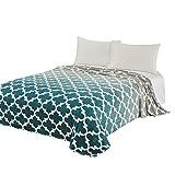 Kuscheldecke CaliTime Super Soft Decke für Bett Sofa Couch, gemütliche warme Flanell Fleece moderne Farbverlauf Ombre Quatrefoil Akzent geometrische, grau zu blaugrün, voll