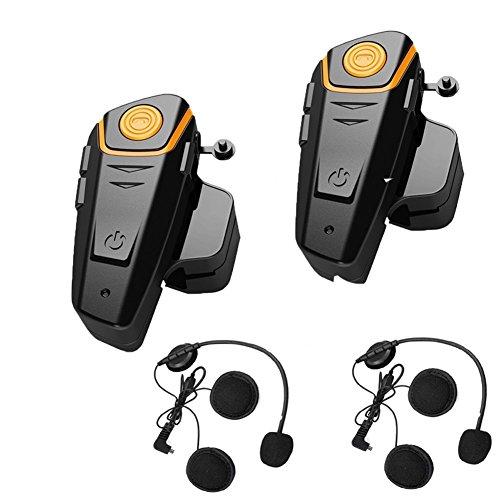 Veetop Motorrad / Ski / ATV Helm Interkom Bluetooth Multi Interphone Gegensprechanlage Sprechanlage 1000M - motorradhelm intercom (2er Set/EU-Ladegerät)