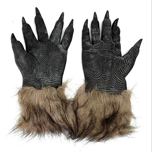 elegantstunning Handschuhe Brown Hairy Wolf Claw Werewolf Hands für Cosplay Show Kostüm Party Halloween Masquerade Party