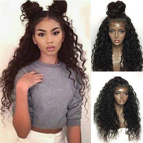 Kostüm Afro Perücke Haar - Royalvirgin Front-Lace-Perücke, Kunsthaar, klebefrei, lockig, Afro-Haar, hitzebeständig, lang, schwarz, für Partys, Kostüme, 150 % Dichte, lose Locken, 61 cm