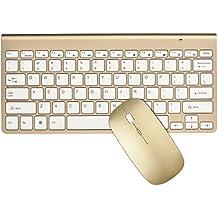 Packs de teclado y ratón, URCO ergonómico inalámbrico 2.4G teclado ultra delgado y ratón portable para el juego y el trabajo (Oro de Lujo) (QWERTY Layout)