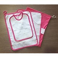 Crociedelizie, Set asilo da ricamare punto croce 4 pezzi tovaglietta bavaglino sacca asciugamano salvietta in tela aida