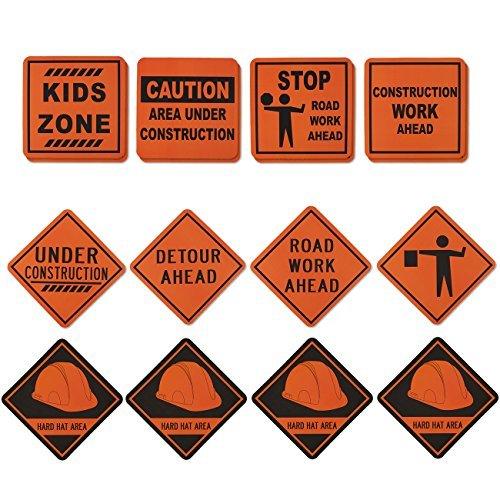 Blue Panda 16-Pack-Bau-Zeichen - Bau-Geburtstags-Party Supplies, Construction Zone Kinderpartydekoration, Verschiedene Designs, 12 x 12 Zoll. Orange, Schwarz -