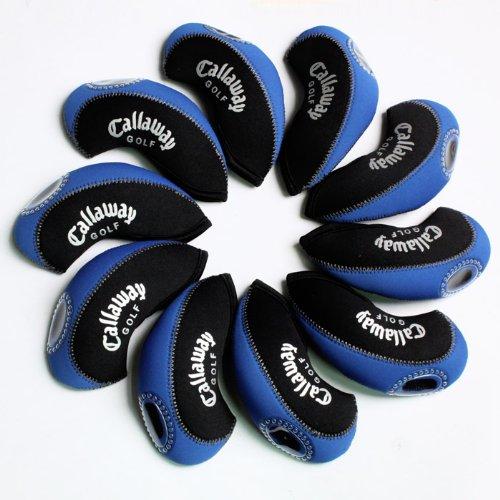 Callaway golf Schlägerkopfhüllen Golf Eisen deckt Eisenhauben 10pcs/set MT/C02 schwarz/blau (Set Callaway Eisen)