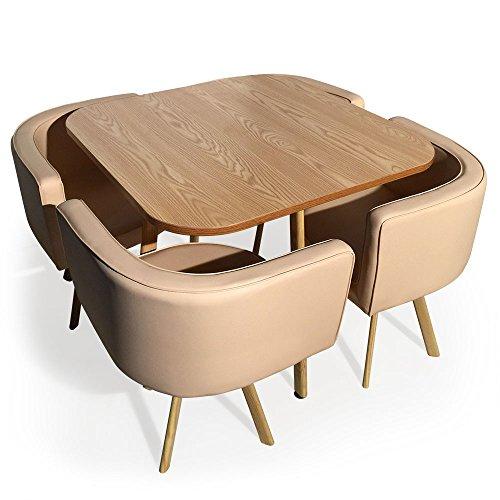 Menzzo Table et chaises encastrables scandinaves Oslo Beige
