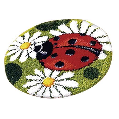 Baoblaze Knüpfteppich Formteppich für Kinder und Erwachsene zum Selber Knüpfen Teppich, Latch Hook Kit - marienkäfer -