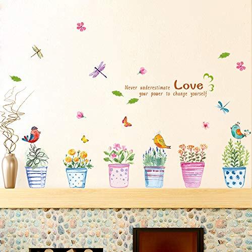 Entfernbare Schlafzimmer Wohnzimmer Veranda Sill Dekoration Topf Wandaufkleber Maler Romantische Handgemalte Bunte Blumentopf