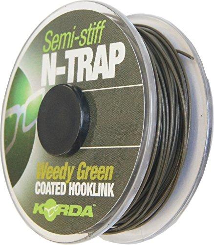 Korda N-TRAP Semi Stiff 20m - Vorfachschnur für Karpfenmontagen, Schnur für Karpfenvorfach, Vorfachmaterial für Karpfen, Tragkraft:20lbs/9.1kg;Farbe:Weed (Grün)