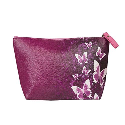 TaylorHe Make-up Bag Kosmetiktasche Schminktasche Kulturbeutel Geldbeutel Beutel Mehrfarbig Tasche mit Mustern Rosa Schmetterlinge