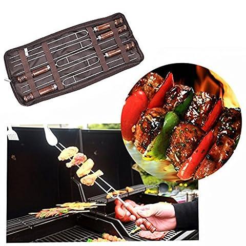 rechel Lot de 5en acier inoxydable pour barbecue grill viande, fourchette à rôtir de Smores, brochettes, Fun Cuisine Camping Idéal pour patio Foyer et feu de camp de cuisson pour les enfants et les adultes