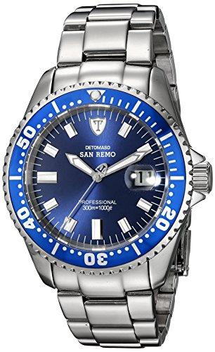 DETOMASO San Remo – Reloj Automatic Forza Di Vita para hombre, color azul / plateado