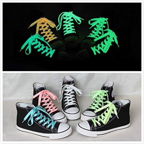 frixie (TM) 2pc/lot Fluorescente Shoe Laces Lacci lunga scarpe lacci lacci Glow in the Dark luminosa Yellow Blue