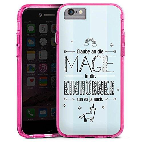 Apple iPhone 6 Bumper Hülle Bumper Case Glitzer Hülle Einhorn Magie Spruch Bumper Case transparent pink