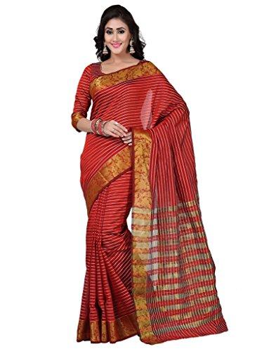 Deepika Saree Red Art Silk Saree with Blouse  available at amazon for Rs.990