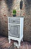 Livitat® Nachttisch Nachtschrank Nachtkonsole Nachschränckchen Nachtkommode Weiß Shabby Chic barock LV1110 (1 Tür)