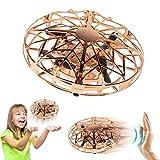 Cadeaux pour Garçons 5-7 Ans Joy-Jam Balle Volante Mini Drones pour Enfants Mini UFO Hélicoptère Télécommandé Jouet Volant Jeux pour Enfants Lumière LED Doré