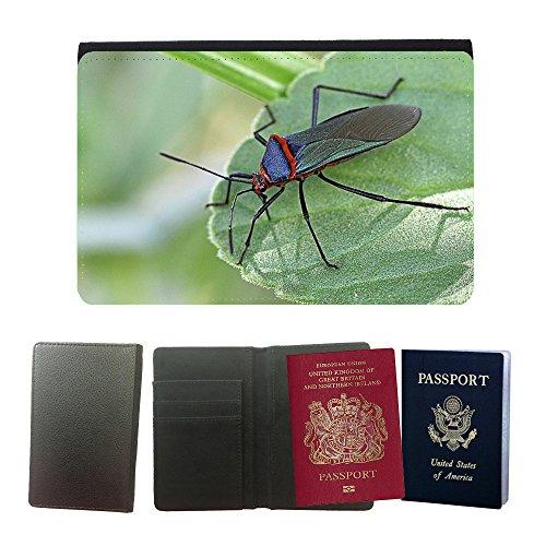 Muster PU Passdecke Inhaber // M00133653 Insekt Blatt Frack Grün Blau // Universal passport leather (Frack Grüne)