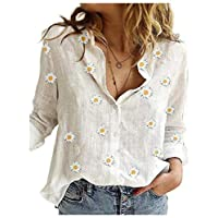 DUe Women's Casual Print Button Down Open Front Loose Blouse Top White L