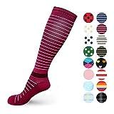 Compressione graduata calzini per uomo e donna 20–30mmHg–moderato calze a compressione, per running, crossfit, travel- tuta, infermiera, maternità gravidanza, periostite, Purple Stripe