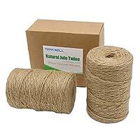Tenn Well 656 Feet Jute Twine, 6ply Thick Carton Packaging Jute String for Gardening Bundling DIY Crafts (Brown)