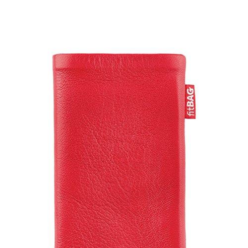 fitBAG Beat Cognac Handytasche Tasche aus Echtleder Nappa mit Microfaserinnenfutter für Apple iPhone 6 Plus / 6S Plus / 7 Plus (5,5 Zoll) | Schlanke Hülle als edles Zubehör mit praktischer Reinigungsf Beat Rot
