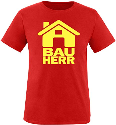 Luckja Bauherr Herren Rundhals T-Shirt Rot/Gelb