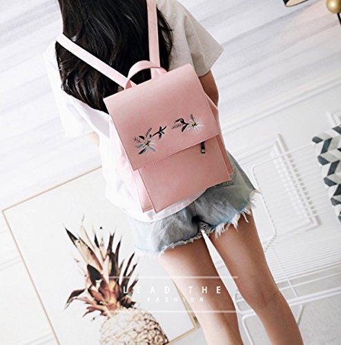 QPALZMbackpack PU Frauen Stickerei Rucksack Mit Reißverschluss Niet Dekoration Tasche Für Mädchen Pink