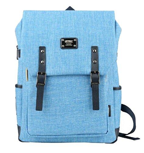 Heheja Freizeit Retro Rucksäcke Mode Computer Rucksack Leinwand Schulrucksack Für Student Schultasche Hellblau
