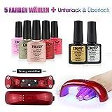 Elite99 Nagellack Set Farblack UV Lampe 5 Farblack Nagelstudio-Sets (1X UV Lampe fuer naegellack 5x Farblack 1x Unterlack(Base Coat) 1x Ueberlack(Top Coat))