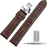 TStrap 19mm Genuine Leather Watch Strap Black Brown Military Bracelet Watch Band Alligator Grain w/ Deployment Clasp Buckle