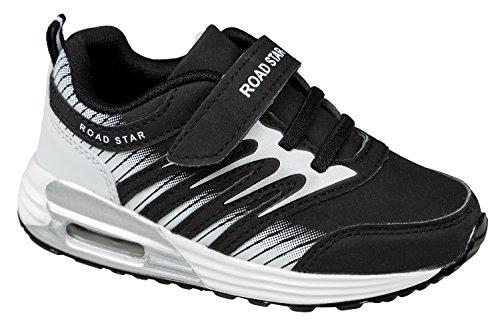 GIBRA® Enfants Chaussures de sport, avec fermeture velcro, noir/blanc, Taille 25–35 Noir - Noir/blanc