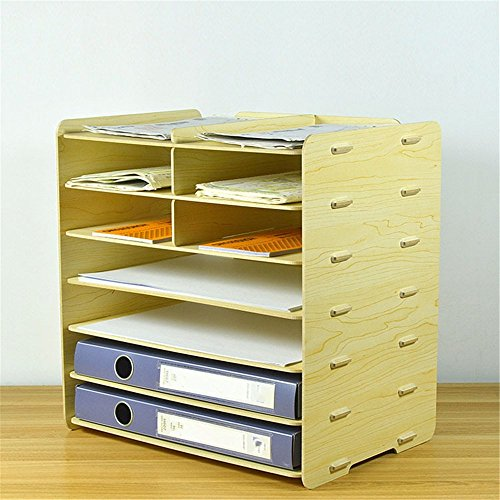 DIY Schreibtisch Holz- File Cabinet Aufbewahrungsbox Papier im Format A4 Manager 7 Schichten Datei Inhaber Magazin Ordner Halter, weiß Ahorn (Weiß Cabinet Ziehen)