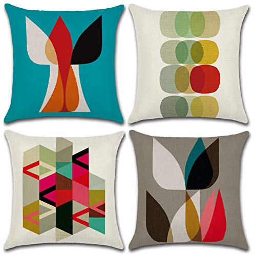Soleebee Lino de Algodón Fundas de Almohada, 45 x 45cm Fundas de Cojines Home Decorativos para Sofá Cama Juego de 4 (Geometría Colorida)