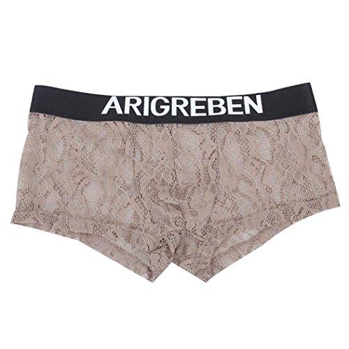 Boxershorts ❤️Timogee Herren Spitze Ultra Dünn Garn Gemütlich Uderwear Unterhose Boxershorts Slips Mode Belüftung Unterwäsche Ausbuchtung Sport Hohl Unterhose Lüftung Trunks (2XL, Kaffee)