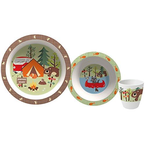 Camping Geschirr aus Melamin 3-teilig für Kinder, Tafelservice Spülmaschinenfest für Picknick, Kratzfest und Bruchsicher, Geschirrset im kinderfreundlichem Design, Kindergeschirr für Kinder Tiermotiv