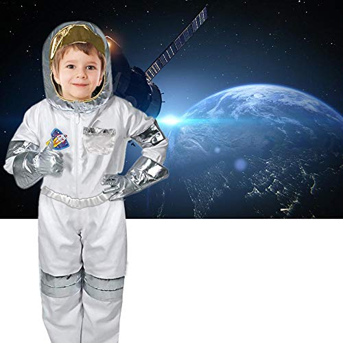Rollenspielanzug Astronautenkostümkindastronautenkostümrollendes Jungenmädchen mit Sturzhelmhandschuhen