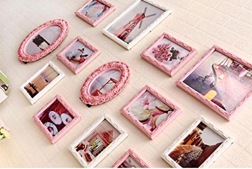 X&L 13 Rahmen Bilder Wand Wohnzimmer solide Holz Foto Wand kreative Kombination Bild Frame Schlafzimmerwand nehmen , pink - 3