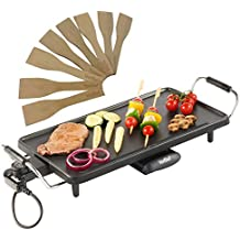 vonshef electric large teppanyaki style bbq barbecue table grill griddle with 8 spatulas watts - Electric Griddles
