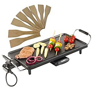 VonShef Electric Large Teppanyaki Style BBQ Barbecue Table Grill Griddle with 8 Spatulas 2000 Watts