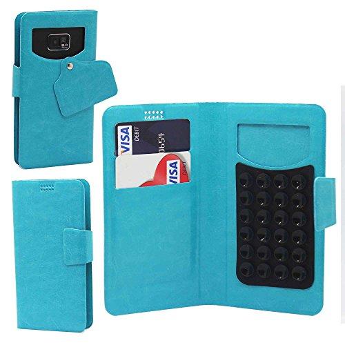Pour Samsung Galaxy Note5 Portefeuille et étui de protection à ventouses en cuir PU très fin de très grande qualité avec stylet et Écouteurs intra-auriculaires - Blanc/White - par Gadget Giant® Bleu Baby/Baby Blue