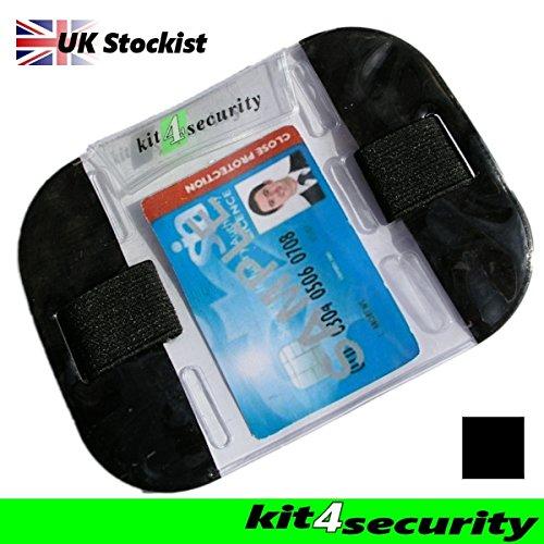 Kit4Security - Fascia da braccio ad alta visibilità, per riporre carta di identità/tessera, per buttafuori e personale dei locali, standard di sicurezza SIA