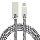 LoongGate USB 2.0 a Cable Micro USB, Resorte Conector de Aleación de Zinc Tubo Suave de Acero Inoxidable - 2.4A Cable de Carga Rápido para Samsung, Huawei y más dispositivos Android - 1 Metro (3.3 pies) - Plata