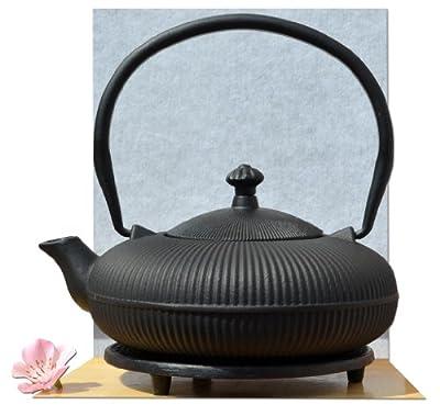 Théière en fonte d'inspiration japonaise avec repose-théière et tasses Design montagne zen 0,8 l Noir