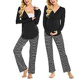 MAXMODA Damen Schlafanzug/Pyjama für Schwangerschaft und Stillzeit/Langarm