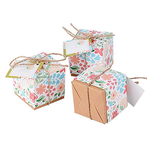 Buondac 50 pz scatoline portaconfetti bomboniere carta stampa con fiori scatole regalo segnaposto decorazioni per festa matrimonio battesimo compleanno inclosi cordini e etichette