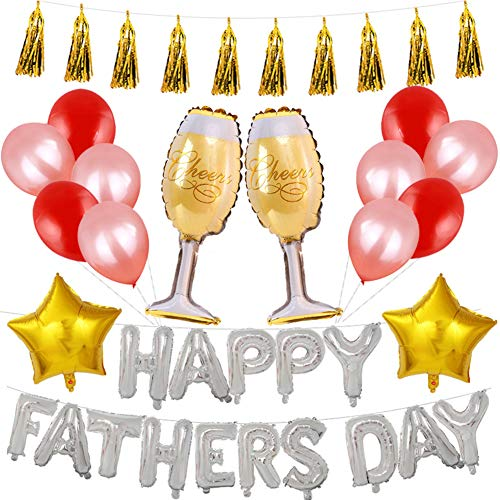 Cdet. Helium Folie Herz Ballon Vatertag Ballons Heliumballons Set Happy Fathers Day Briefe für Festivaldekoration Silber Brief Banner(Golden)