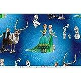 PWSE Baumwoll Jersey Stoff Frozen Anna & ELSA Digital Druck ab 0,5 m (Blau)