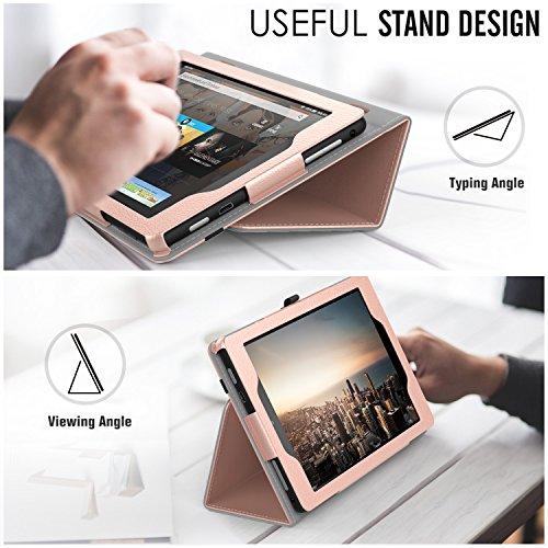 MoKo Étui Housse pour tablette Fire HD 8 - Fin et Pliable pour Tablette Fire HD 8 (6ème génération - modèle 2016), Bleu (Auto Réveil / sommeil) A-Or Rose