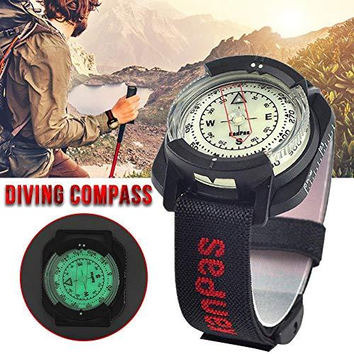 bearivt Professioneller Handgelenk-Tauchkompass Hohe Präzision 60 m / 197 Fuß Outdoor-Kompass Fluoreszierendes Zifferblatt