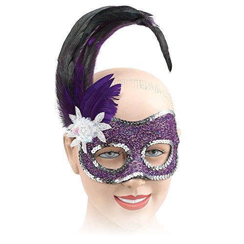 Bristol Novelty EM049 Augenmaske mit Pailletten, Lila, Damen, violett, Einheitsgröße (Lila Feder Maske Mit Pailletten)